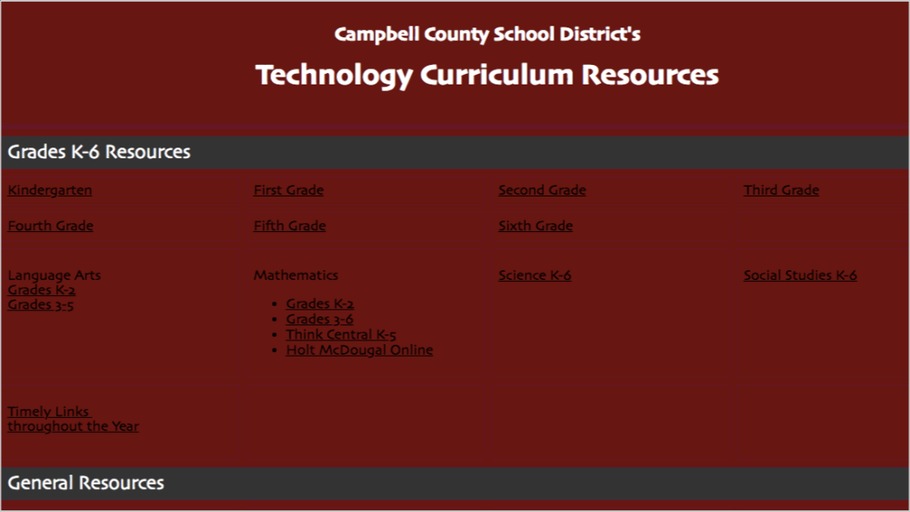 resource page for curriculum materials