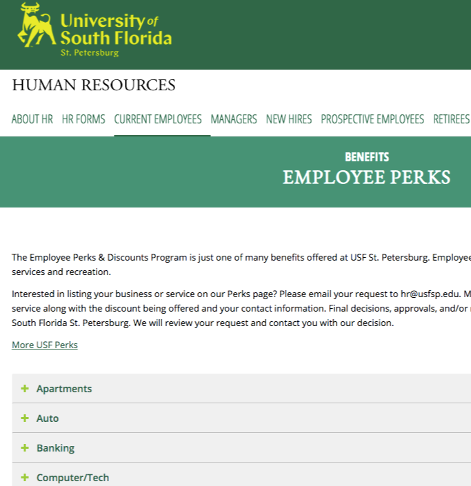 employee discount page edu website