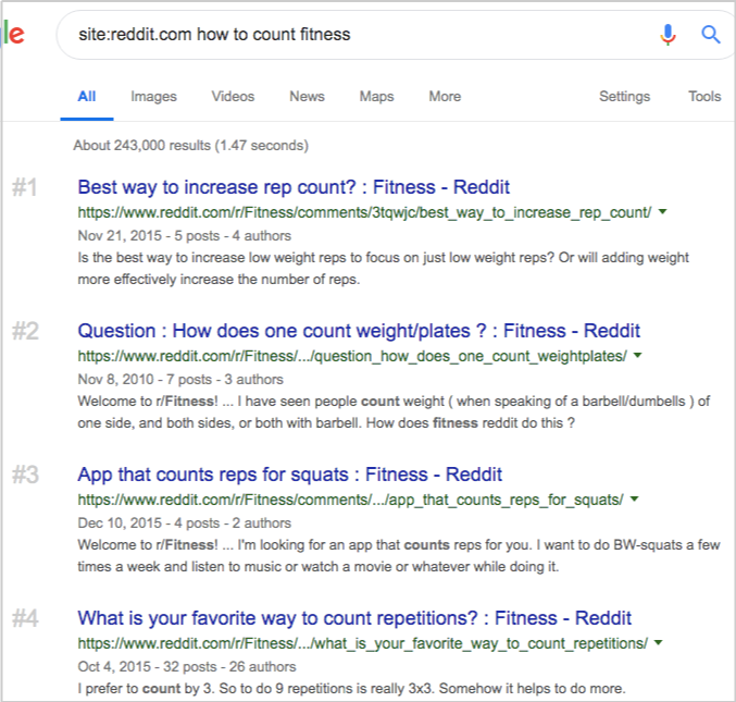 google search reddit how to count fitness