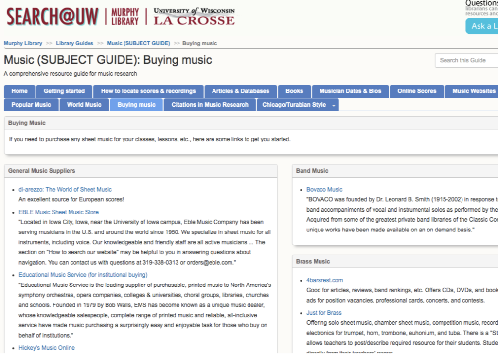 edu music library guide pages