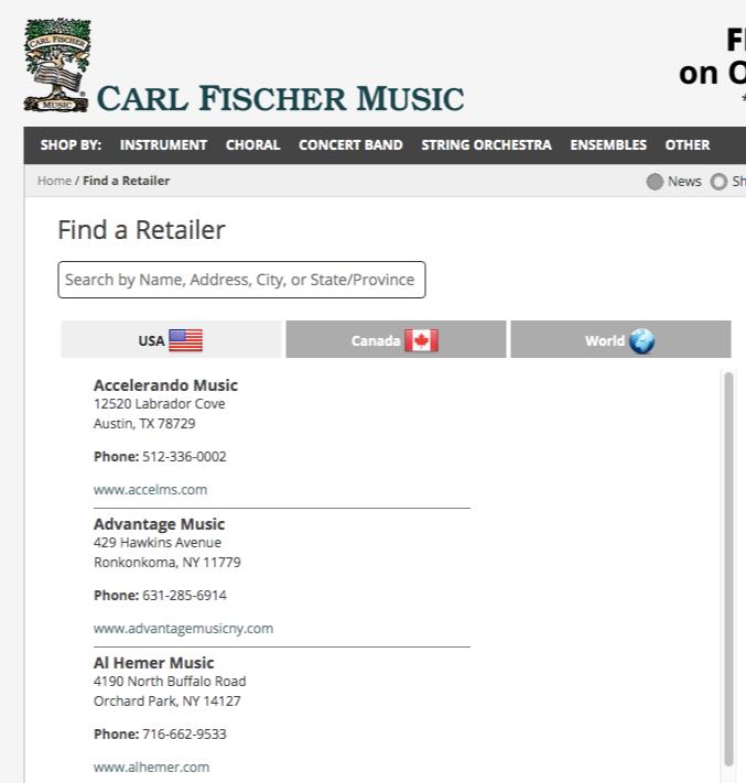 music store locator page