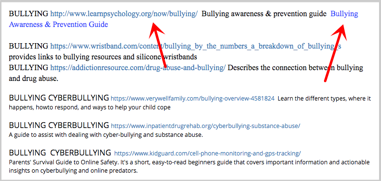 bullying resources link