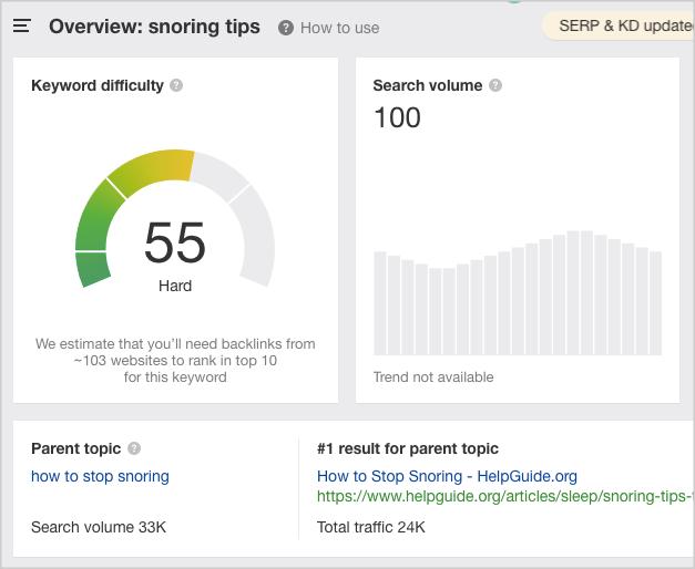 ahrefs keyword explorer snoring tips
