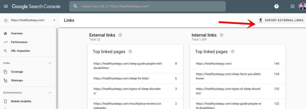 google search console export external links