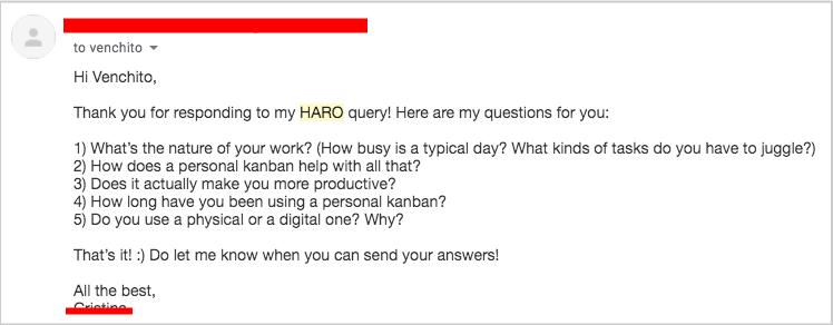 haro inquiry response