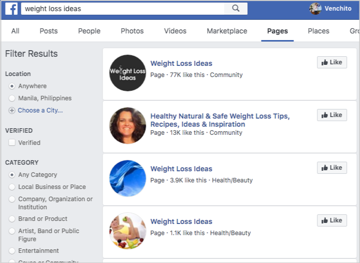 facebook search weight loss ideas