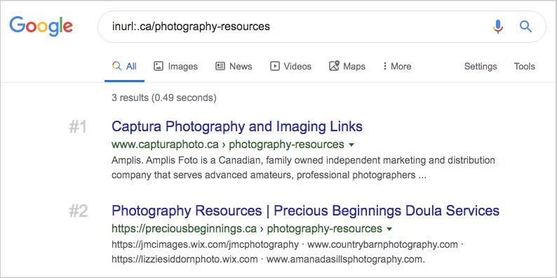 google search inurl-ca