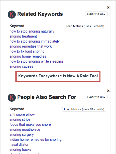 keywords everywhere related keywords people also search for