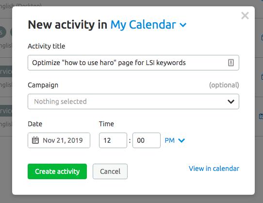semrush content template schedule calendar