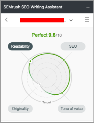 semrush seo writing assistant overall score