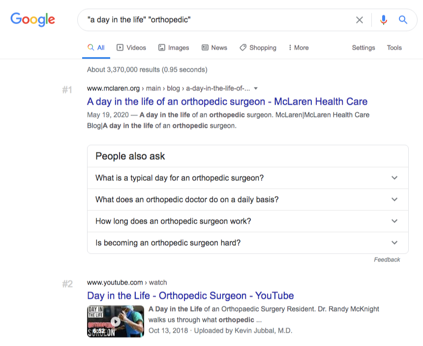 a day in the life orthopedic google results