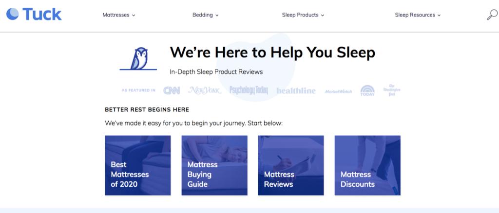 tuck sleep website