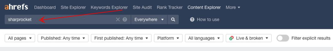 ahrefs content explorer enter keyword