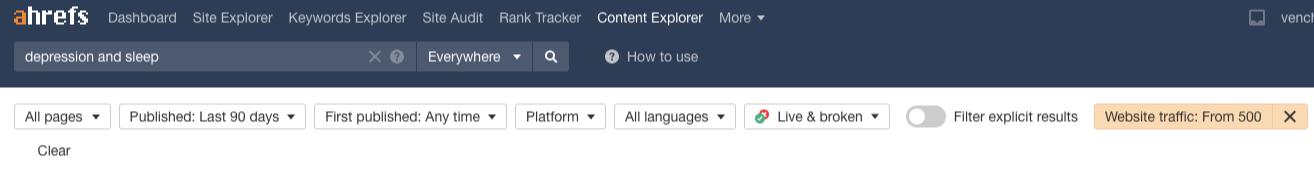 ahrefs content explorer website traffic 500