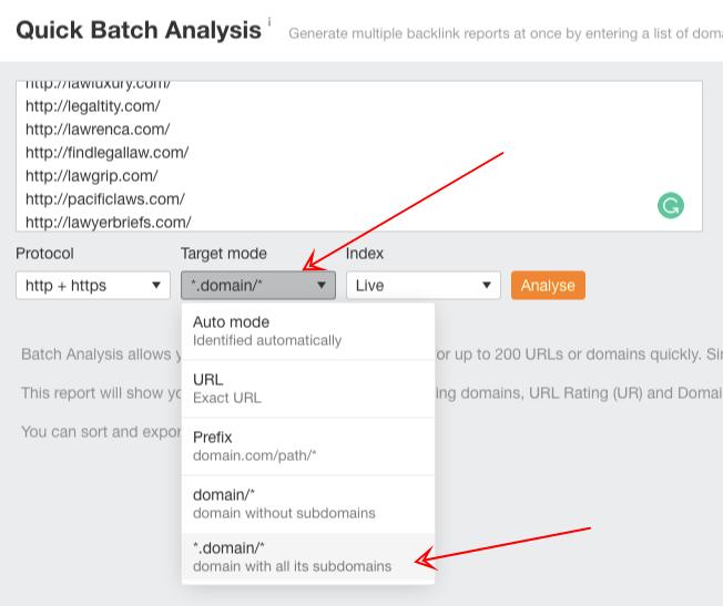 ahrefs quick batch analysis