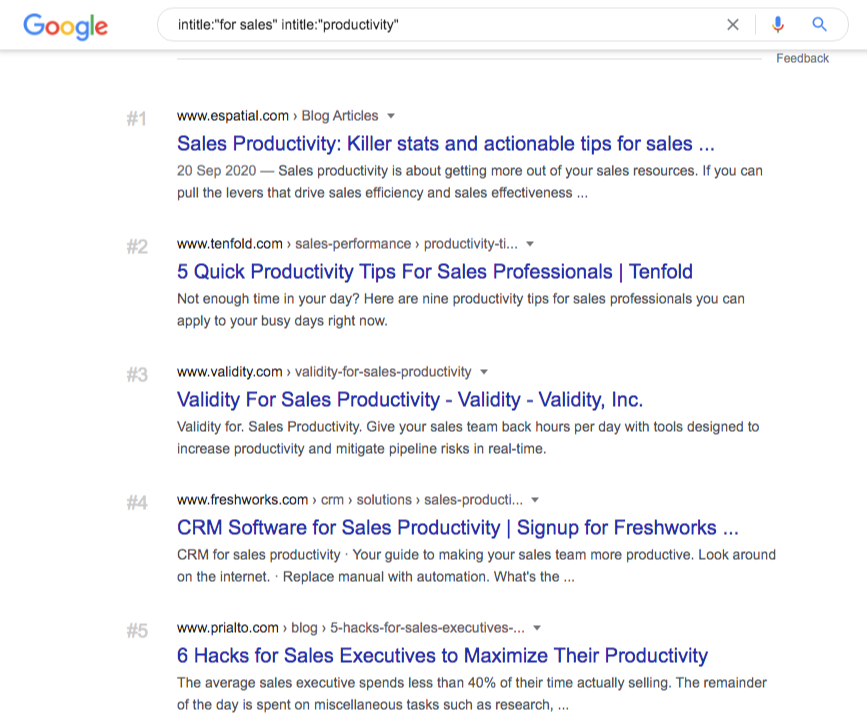 google search intitle for sales intitle productivity