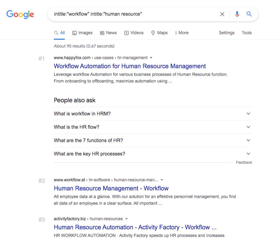 google search workflow human resource