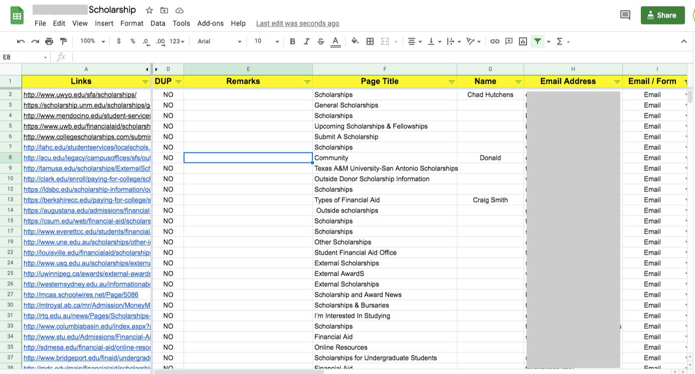 legal scholarship spreadsheet