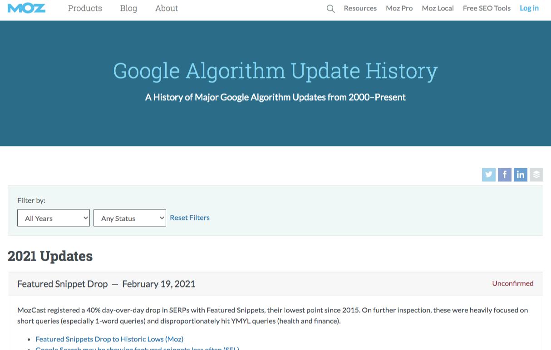 moz google algorithm updates history