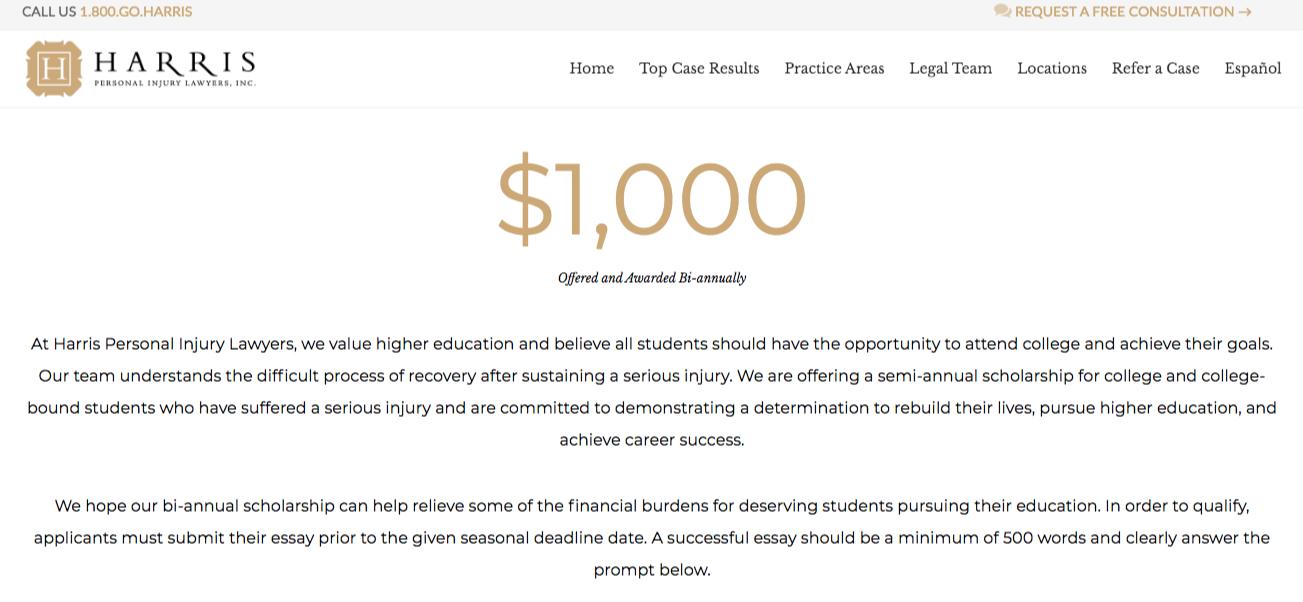 personal injury scholarship