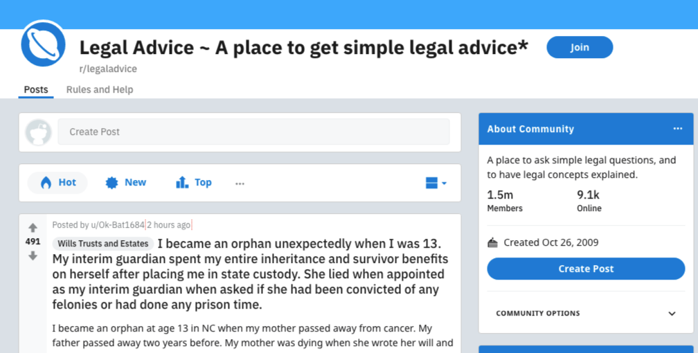 reddit legal advice forum