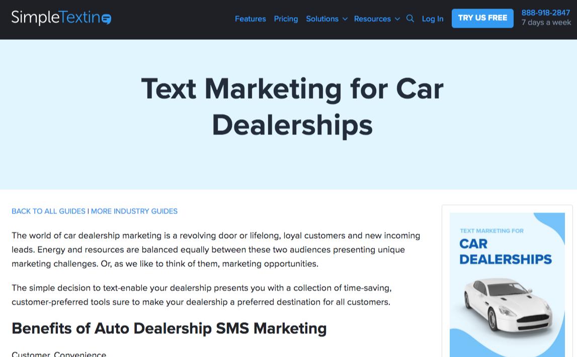 simpletexting car dealerships