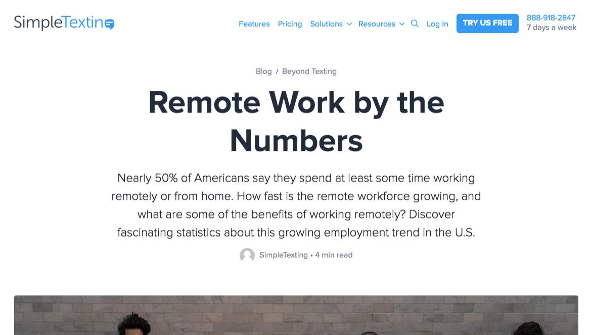 simpletexting remote work statistics