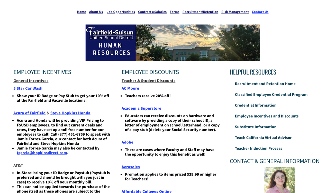employee discounts pages