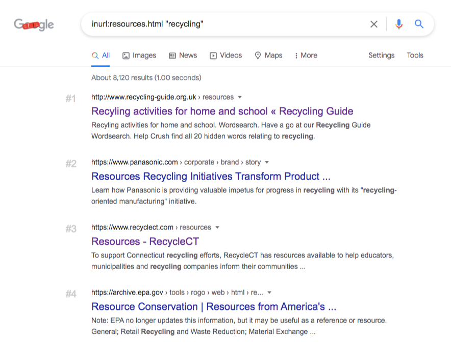 google search inurl recycling resources