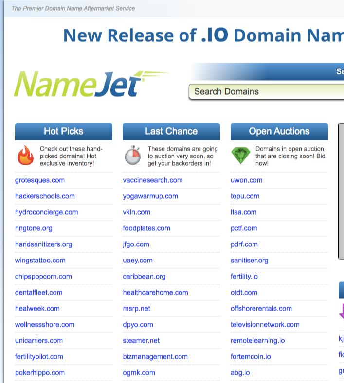 namejet domains auctions