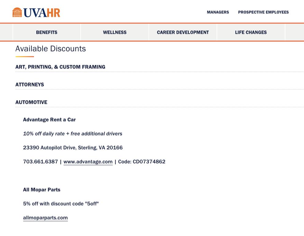 university discounts example