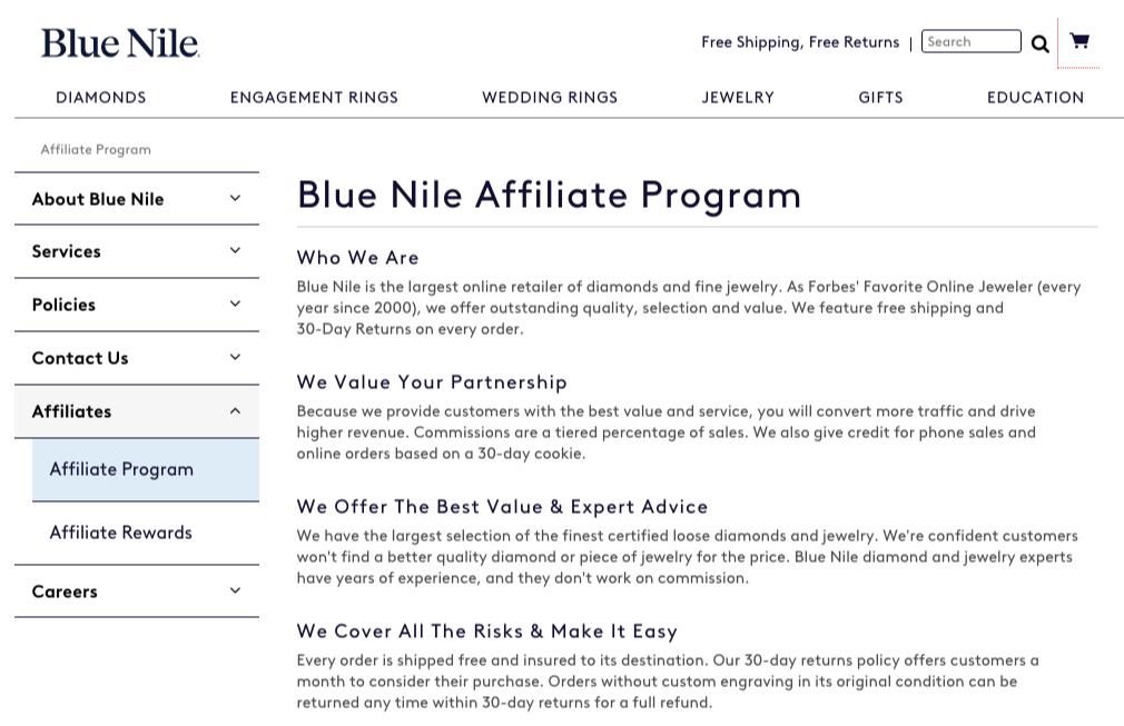 bluenile affiliate program