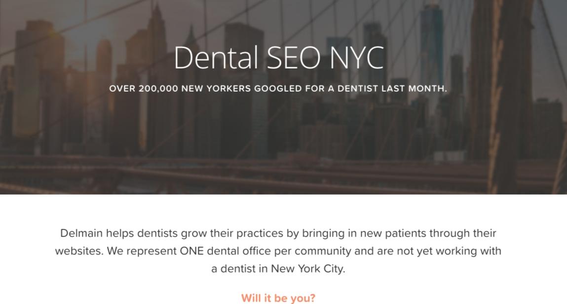 dental seo nyc landing page