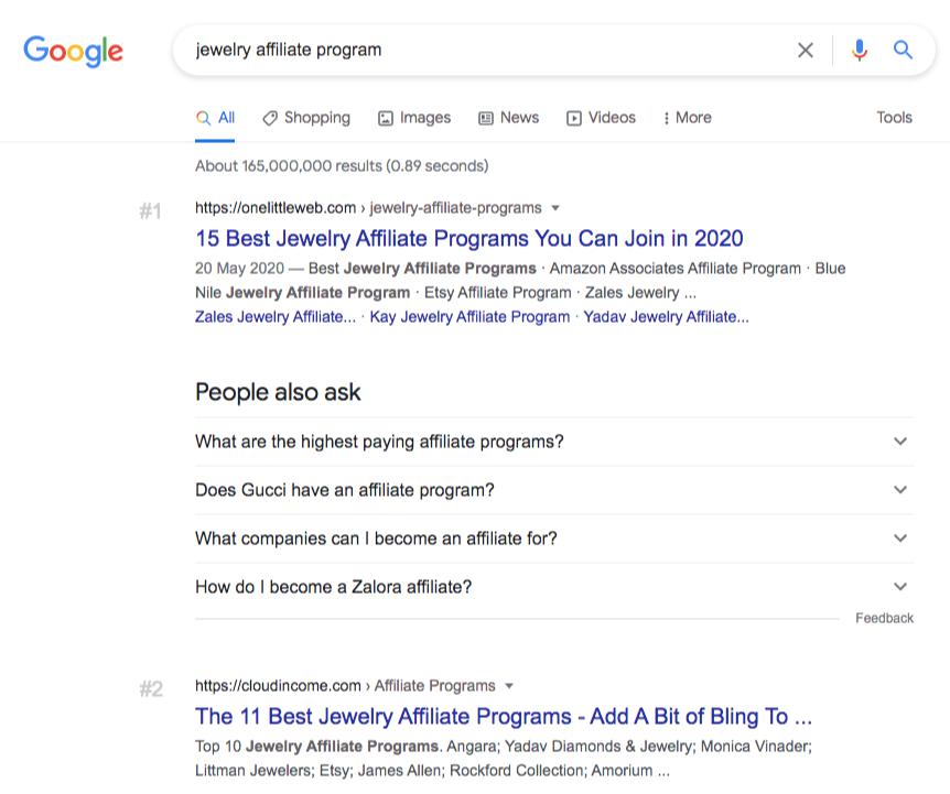 find affiliate program google search