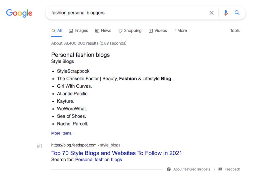 google search fashion bloggers