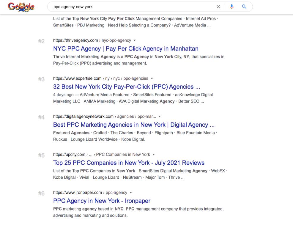 ppc agencies new york google search