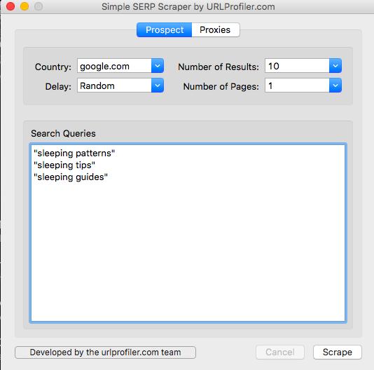 simple serp scraper keywords
