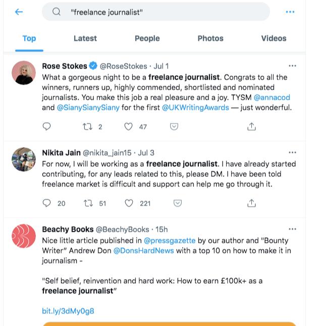 twitter search freelance journalists