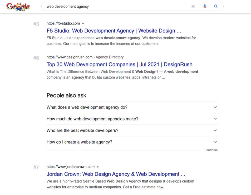 web development agencies google search
