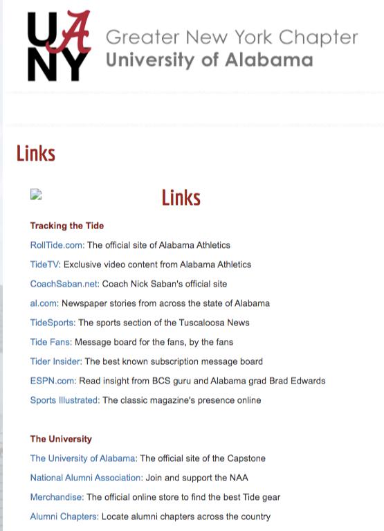 alumni association links