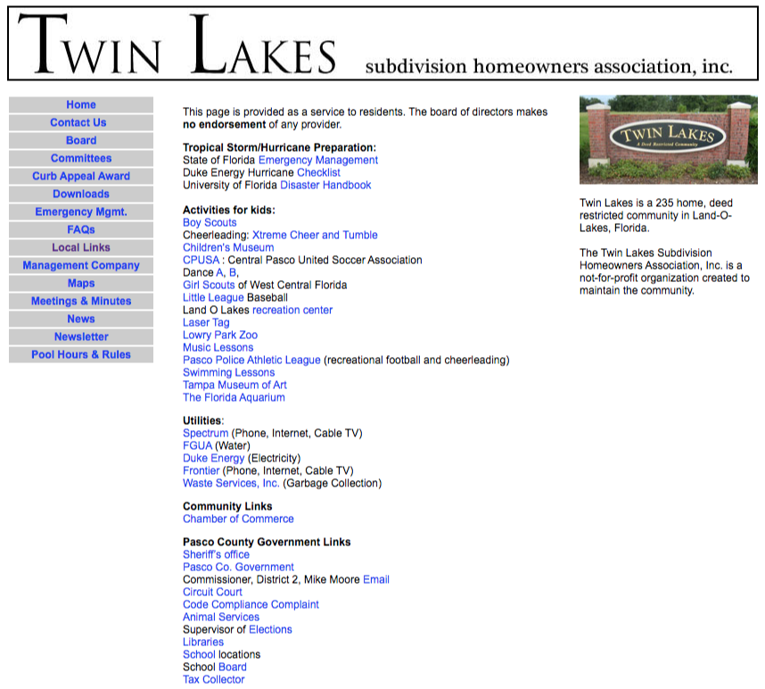 homeowners association resource page link