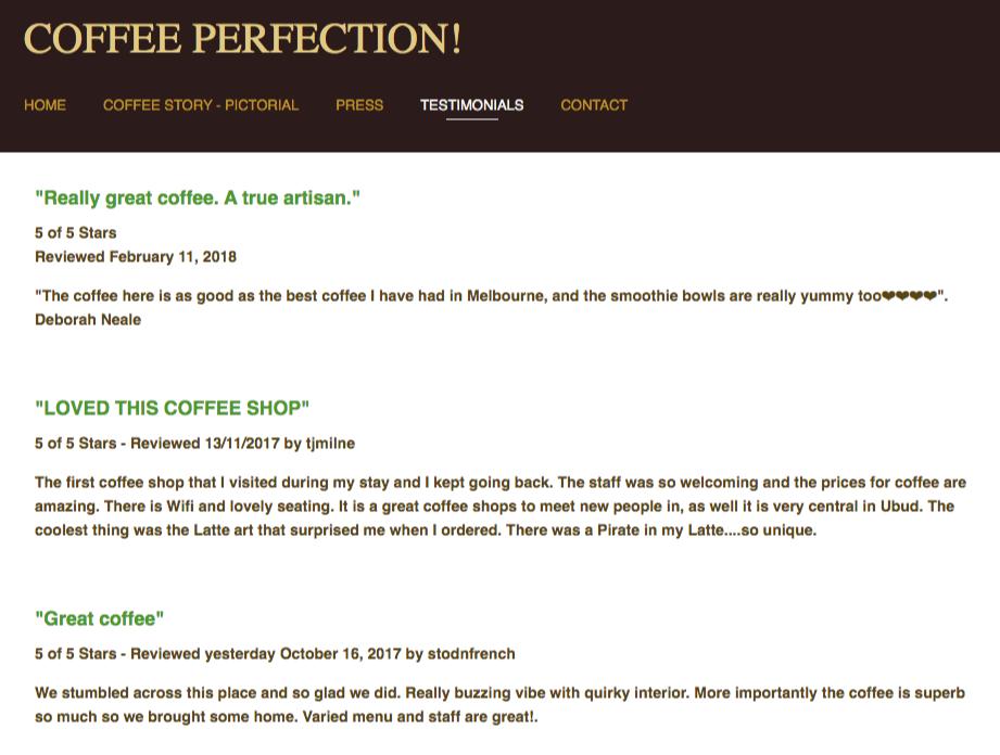 testimonials page local coffee shop